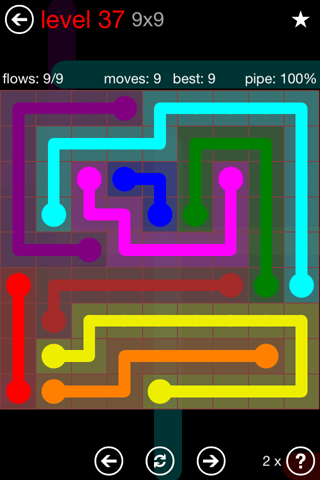Solution and Answer to the Puzzle for Flow 9mania Pack Set 9x9 Level 37