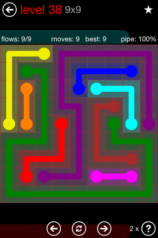 Solution and Answer to the Puzzle for Flow 9mania Pack Set 9x9 Level 38
