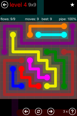 Solution and Answer to the Puzzle for Flow 9mania Pack Set 9x9 Level 4