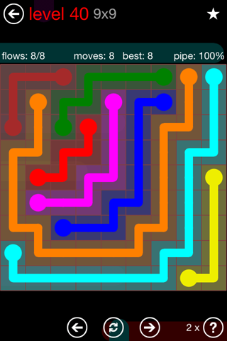 Solution and Answer to the Puzzle for Flow 9mania Pack Set 9x9 Level 40