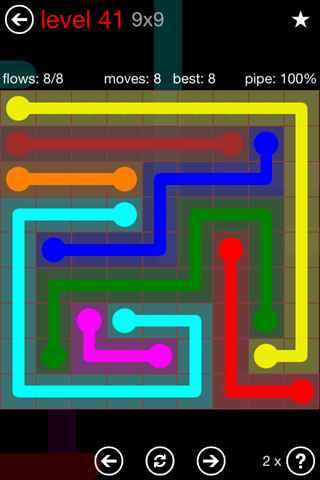 Solution and Answer to the Puzzle for Flow 9mania Pack Set 9x9 Level 41