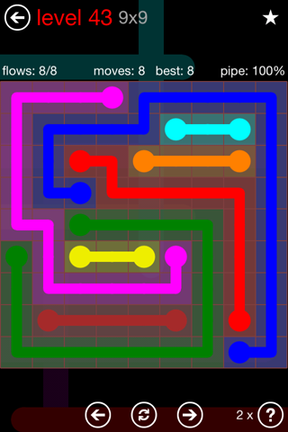 Solution and Answer to the Puzzle for Flow 9mania Pack Set 9x9 Level 43