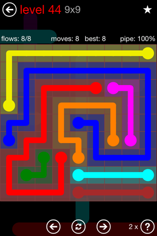 Solution and Answer to the Puzzle for Flow 9mania Pack Set 9x9 Level 44