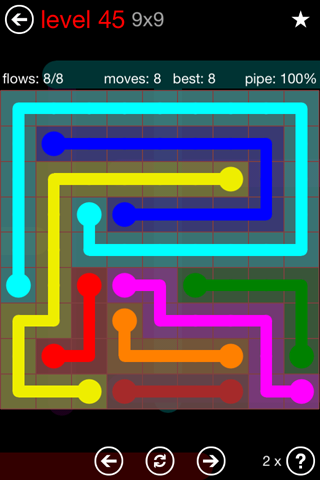 Solution and Answer to the Puzzle for Flow 9mania Pack Set 9x9 Level 45