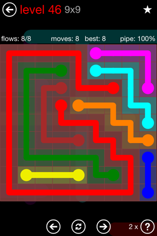 Solution and Answer to the Puzzle for Flow 9mania Pack Set 9x9 Level 46