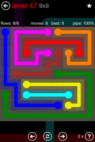 Solution and Answer to the Puzzle for Flow 9mania Pack Set 9x9 Level 47