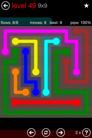 Solution and Answer to the Puzzle for Flow 9mania Pack Set 9x9 Level 49