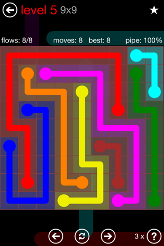 Solution and Answer to the Puzzle for Flow 9mania Pack Set 9x9 Level 5