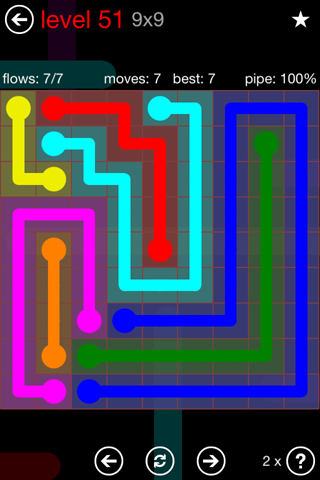 Solution and Answer to the Puzzle for Flow 9mania Pack Set 9x9 Level 51