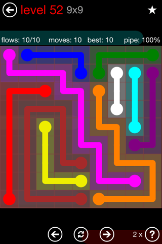 Solution and Answer to the Puzzle for Flow 9mania Pack Set 9x9 Level 52