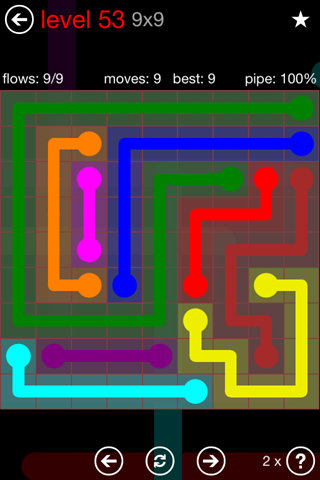 Solution and Answer to the Puzzle for Flow 9mania Pack Set 9x9 Level 53
