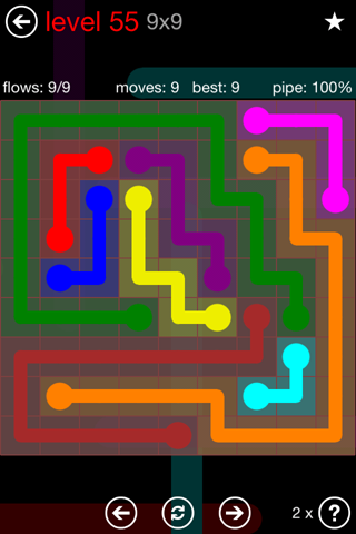Solution and Answer to the Puzzle for Flow 9mania Pack Set 9x9 Level 55