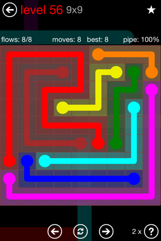 Solution and Answer to the Puzzle for Flow 9mania Pack Set 9x9 Level 56