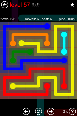 Solution and Answer to the Puzzle for Flow 9mania Pack Set 9x9 Level 57