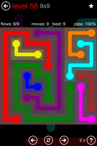 Solution and Answer to the Puzzle for Flow 9mania Pack Set 9x9 Level 58