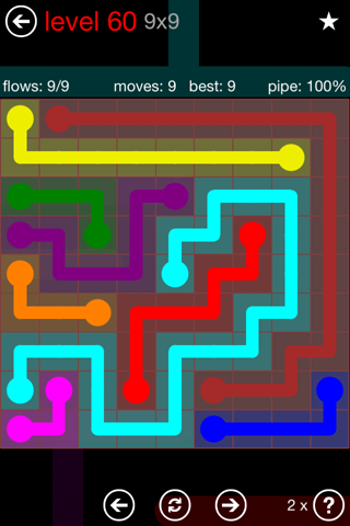 Solution and Answer to the Puzzle for Flow 9mania Pack Set 9x9 Level 60