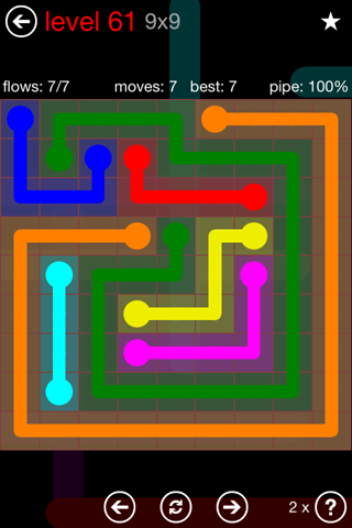 Solution and Answer to the Puzzle for Flow 9mania Pack Set 9x9 Level 61