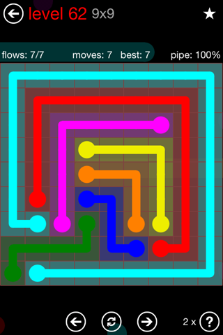 Solution and Answer to the Puzzle for Flow 9mania Pack Set 9x9 Level 62