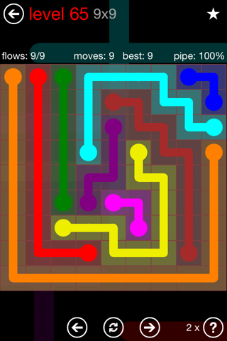 Solution and Answer to the Puzzle for Flow 9mania Pack Set 9x9 Level 65