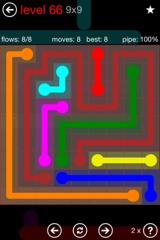 Solution and Answer to the Puzzle for Flow 9mania Pack Set 9x9 Level 66