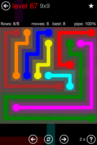 Solution and Answer to the Puzzle for Flow 9mania Pack Set 9x9 Level 67