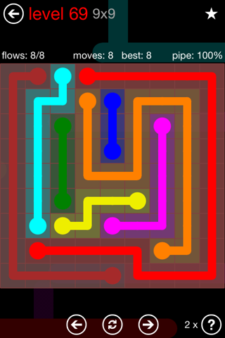 Solution and Answer to the Puzzle for Flow 9mania Pack Set 9x9 Level 69