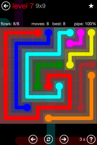 Solution and Answer to the Puzzle for Flow 9mania Pack Set 9x9 Level 7