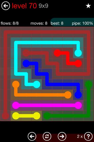 Solution and Answer to the Puzzle for Flow 9mania Pack Set 9x9 Level 70