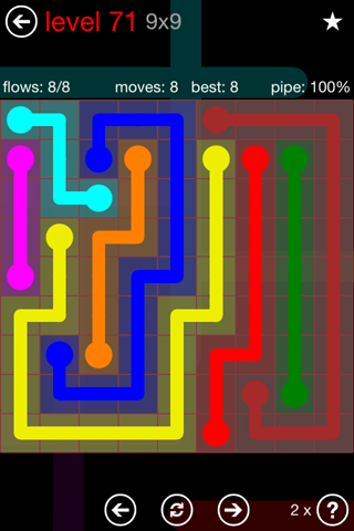 Solution and Answer to the Puzzle for Flow 9mania Pack Set 9x9 Level 71