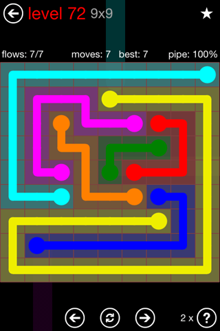 Solution and Answer to the Puzzle for Flow 9mania Pack Set 9x9 Level 72