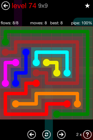 Solution and Answer to the Puzzle for Flow 9mania Pack Set 9x9 Level 74