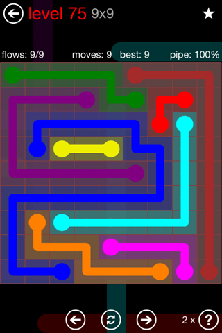 Solution and Answer to the Puzzle for Flow 9mania Pack Set 9x9 Level 75