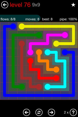 Solution and Answer to the Puzzle for Flow 9mania Pack Set 9x9 Level 76