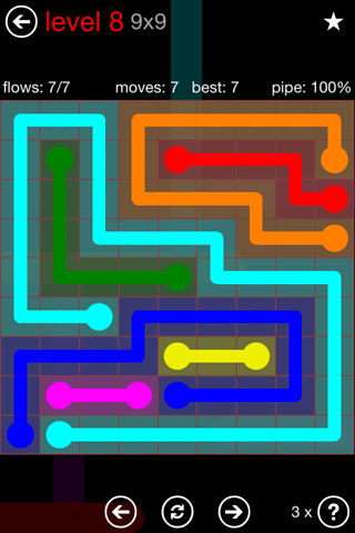 Solution and Answer to the Puzzle for Flow 9mania Pack Set 9x9 Level 8