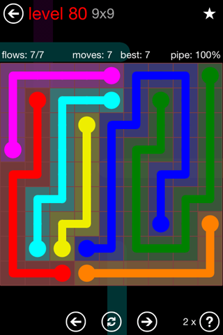 Solution and Answer to the Puzzle for Flow 9mania Pack Set 9x9 Level 80