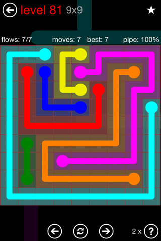 Solution and Answer to the Puzzle for Flow 9mania Pack Set 9x9 Level 81