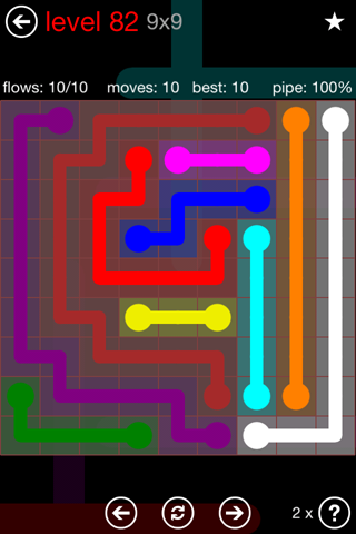 Solution and Answer to the Puzzle for Flow 9mania Pack Set 9x9 Level 82