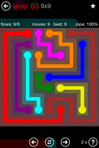 Solution and Answer to the Puzzle for Flow 9mania Pack Set 9x9 Level 83
