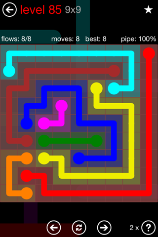 Solution and Answer to the Puzzle for Flow 9mania Pack Set 9x9 Level 85