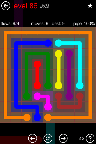 Solution and Answer to the Puzzle for Flow 9mania Pack Set 9x9 Level 86