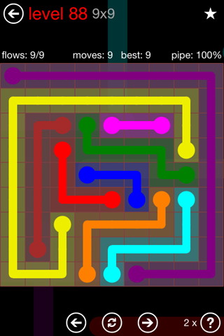 Solution and Answer to the Puzzle for Flow 9mania Pack Set 9x9 Level 88