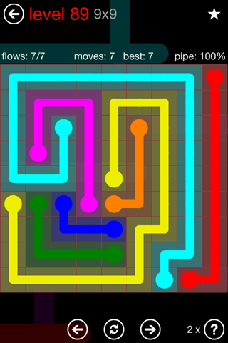 Solution and Answer to the Puzzle for Flow 9mania Pack Set 9x9 Level 89