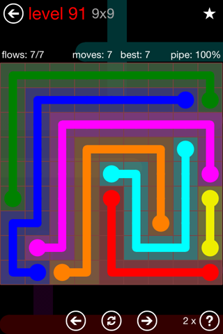 Solution and Answer to the Puzzle for Flow 9mania Pack Set 9x9 Level 91