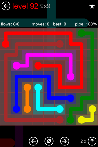 Solution and Answer to the Puzzle for Flow 9mania Pack Set 9x9 Level 92