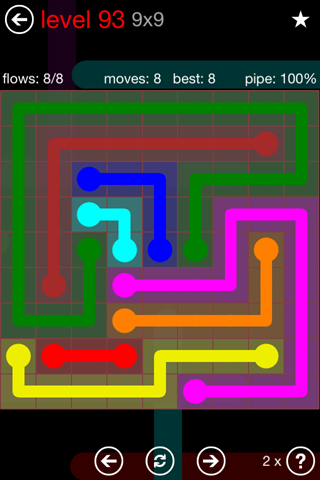 Solution and Answer to the Puzzle for Flow 9mania Pack Set 9x9 Level 93