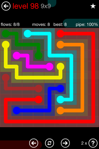 Solution and Answer to the Puzzle for Flow 9mania Pack Set 9x9 Level 98