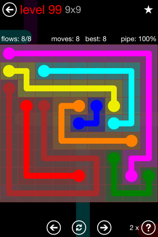 Solution and Answer to the Puzzle for Flow 9mania Pack Set 9x9 Level 99