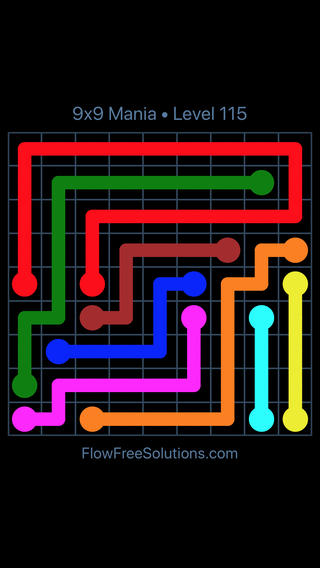 Flow Free 9x9 Mania Level 115 Puzzle Solution And Answer Flow Free