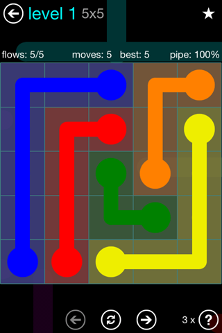 Solution and Answer to the Puzzle for Flow Blue Pack Set 5x5 Level 1