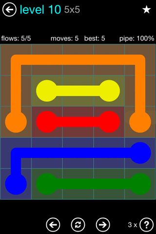 Solution and Answer to the Puzzle for Flow Blue Pack Set 5x5 Level 10